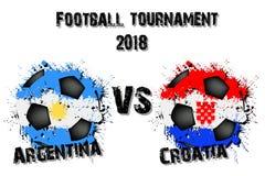 Fotbolllek Argentina vs Kroatien vektor illustrationer