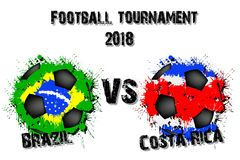 Fotbolllek Brasilien vs Costa Rica royaltyfri illustrationer