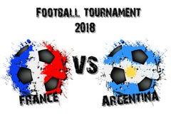 Fotbolllek Frankrike vs Argentina vektor illustrationer
