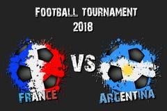 Fotbolllek Frankrike vs Argentina royaltyfri illustrationer