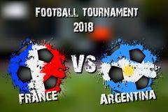 Fotbolllek Frankrike vs Argentina stock illustrationer