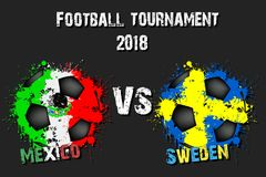 Fotbolllek Mexico vs Sverige royaltyfri illustrationer