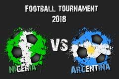 Fotbolllek Nigeria vs Argentina vektor illustrationer