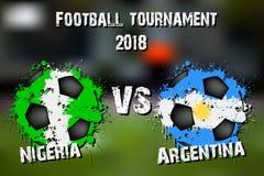 Fotbolllek Nigeria vs Argentina royaltyfri illustrationer