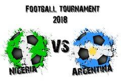Fotbolllek Nigeria vs Argentina stock illustrationer