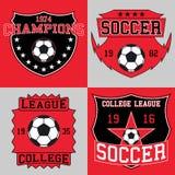 Fotbolllogotypografi, t-skjorta diagram också vektor för coreldrawillustration royaltyfri illustrationer