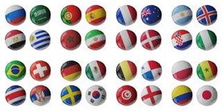 Fotbollmästerskap 2018 Fotboll-/fotbollbollar vektor illustrationer