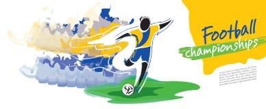 Fotbollmästerskapvektor Konstnärligt bildligt fotbolltecken royaltyfri illustrationer
