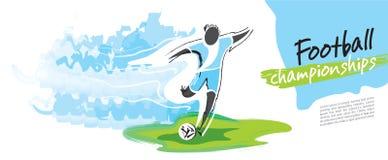 Fotbollmästerskapvektor Konstnärligt bildligt fotbolltecken stock illustrationer