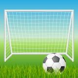 Fotbollmål med bollen Royaltyfri Foto