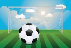 Fotbollmål med bollen stock illustrationer