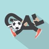 Fotbollmål med hand- och bentypografidesign Fotografering för Bildbyråer