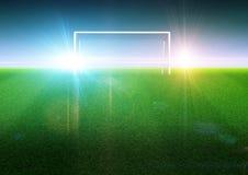 Fotbollmål på fältet stock illustrationer