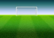 Fotbollmål på fältet vektor illustrationer