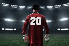 Fotbollmålvakt på fältet Arkivfoton
