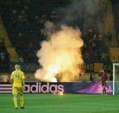 fotbollmatchen sweden teams ukraine Arkivbilder