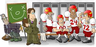 fotbollomklädningsrum med låsbara skåp stock illustrationer