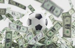 Fotbollpengar, fotbollboll med pengar royaltyfria bilder