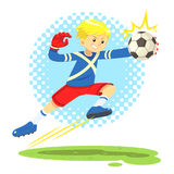 Fotbollpojken hoppar åt sidan för att fånga bollen Stock Illustrationer