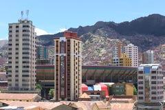 Fotbollsarena Hernando Siles i La Paz, Bolivia Arkivfoto