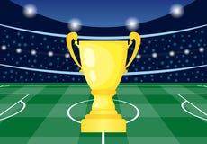 Fotbollsarena med den guld- koppen royaltyfri illustrationer