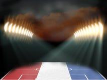 Fotbollsarena med texturerade fältet för Nederländerna det flagga Arkivbilder
