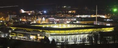 Fotbollsarenan aachen på natten Arkivfoton