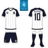 Fotbollsats eller fotbollärmlös tröjamall för fotbollklubba Kort åtlöje för mufffotbollskjorta upp Likformig för framdel- och bak royaltyfri illustrationer