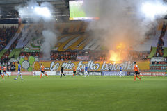 Fotbollsfan. Arkivfoto