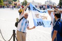 fotbollsfan av Argentina på världscupen i Ryssland royaltyfri bild