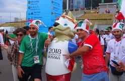 Fotbollsfan av det iranska landslaget efter matchen för världscup 2018 royaltyfria bilder