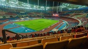 Fotbollsfan av Liverpool under LFC turnerar 2015 mellan Malaysia IX och Liverpool på Bukit Jalil Stadium royaltyfria foton