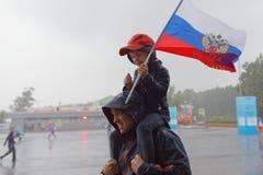Fotbollsfan på St Petersburg stadion under den FIFA världscupen Ryssland 2018 Arkivbild
