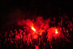 Fotbollsfan som firar mål Royaltyfria Foton