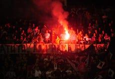 Fotbollsfan som firar mål Arkivfoton