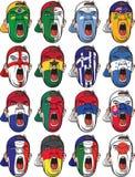 Fotbollsfan vänder mot den stora uppsättningen royaltyfri illustrationer