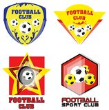 Fotbollslag eller fotbollklubba Logo Set Arkivbild