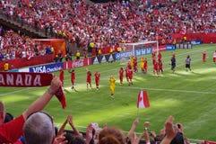 Fotbollslag för Kanada kvinnamedborgare Royaltyfria Foton