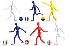 Fotbollslag för tre mått i isolat med den snabba banan Royaltyfri Bild