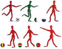 Fotbollslag för tre mått i isolat med den snabba banan Royaltyfria Foton