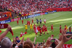 Fotbollslag för Kanada kvinnamedborgare Arkivbild