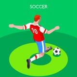Fotbollslagmansommar spelar den isometriska vektorn 3D vektor illustrationer