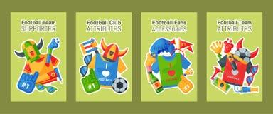 Fotbollslagsupportern ställde in av kort, banervektorillustration Attribut för fotbollsportfan, anhängarefantastman royaltyfri illustrationer