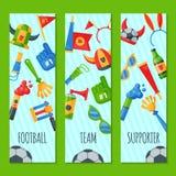 Fotbollslagsupporteruppsättning av banervektorillustrationen Attribut för fotbollsportfan, tillbehör för anhängarefantastman vektor illustrationer