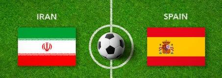 Fotbollsmatch Iran vs spain royaltyfri illustrationer