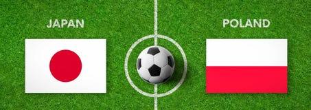 Fotbollsmatch Japan vs poland Arkivfoton