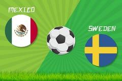 Fotbollsmatch Mexico vs Sverige Basket med belägger med metall påskyndar royaltyfri illustrationer
