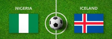 Fotbollsmatch Nigeria vs iceland stock illustrationer