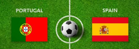 Fotbollsmatch Portugal vs spain royaltyfri illustrationer