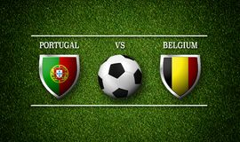 Fotbollsmatchschema, Portugal vs Belgien, flaggor av länder Arkivfoto